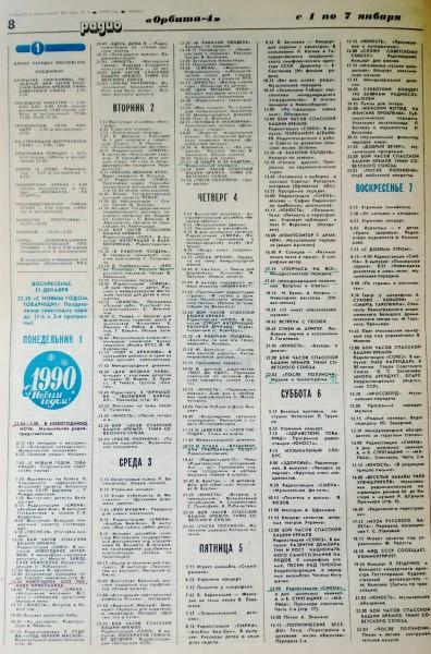 газета Говорит и показывает Москва, 1990 г., № 1