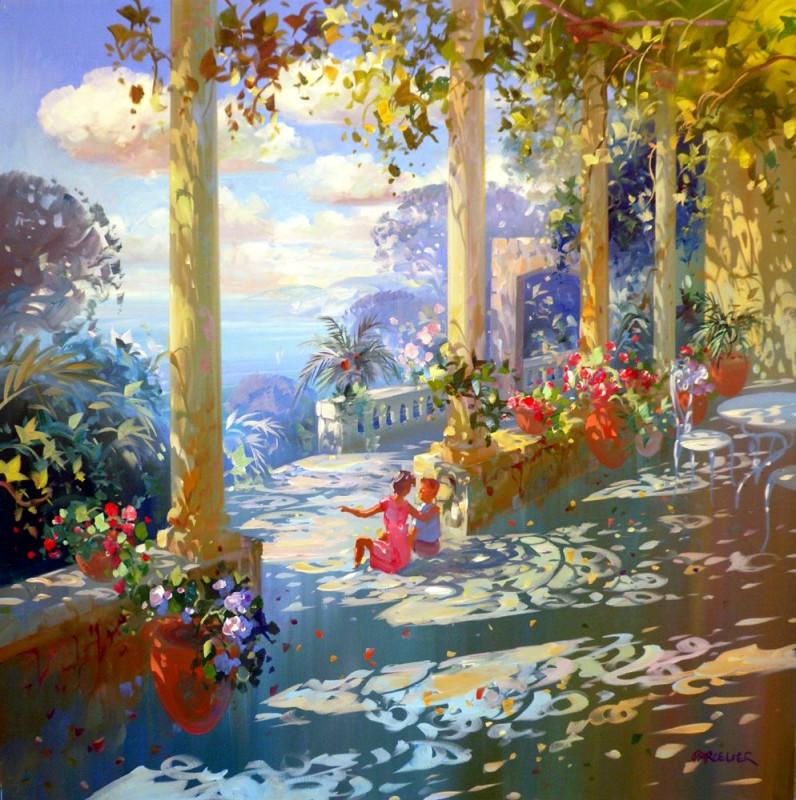 Laurent PARCELIER - Les enfants sur la terrasse 80x80