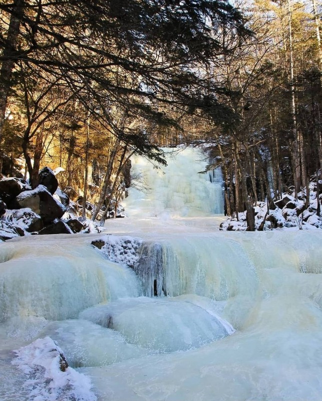 Застывший водопад в приморском лесу 1