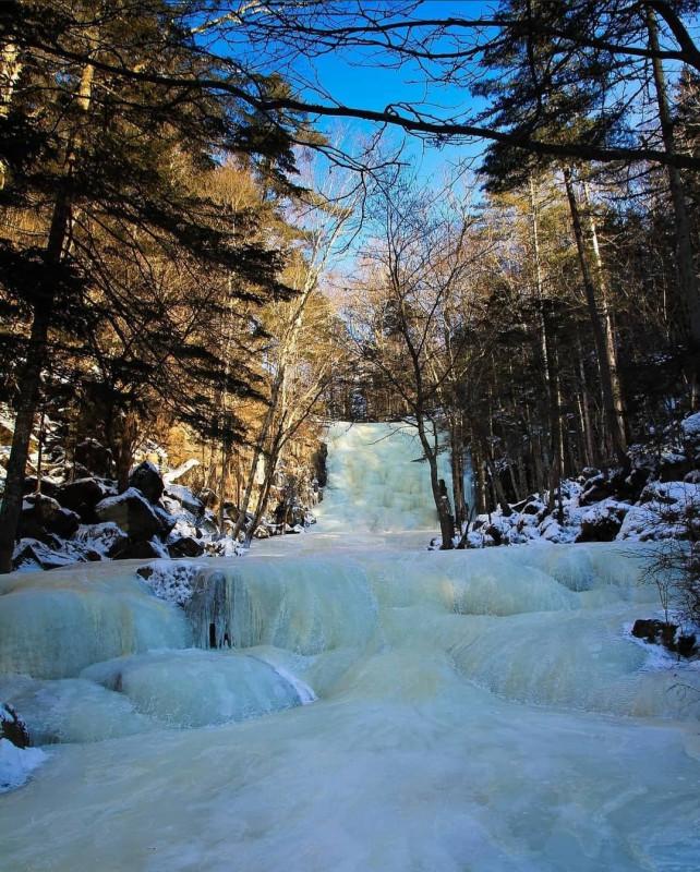 Застывший водопад в приморском лесу 5