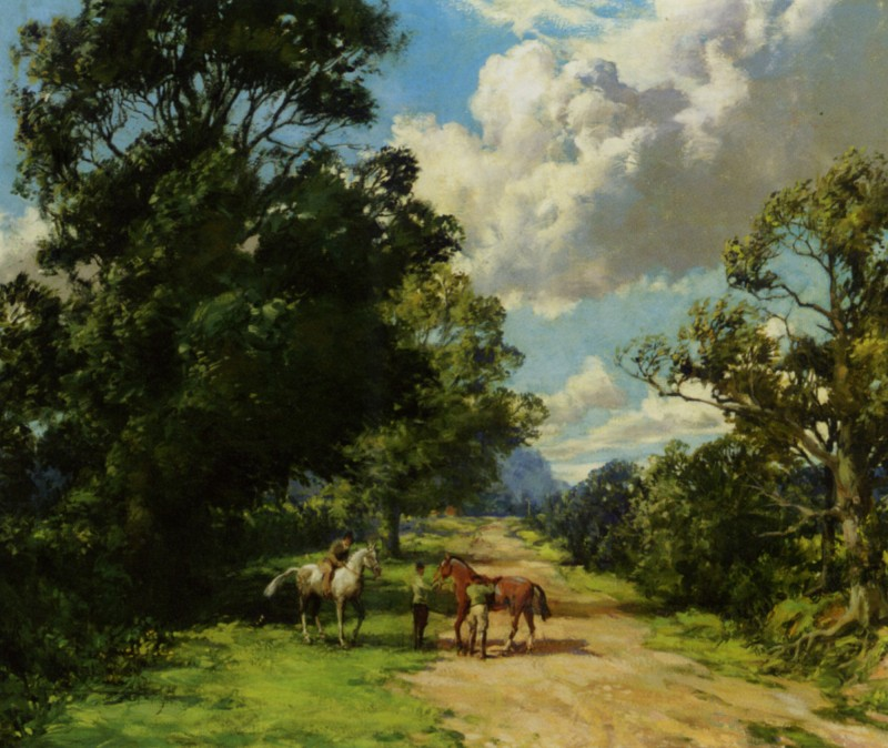 Dawson_Montague_Morning_Ride_Nyria_on_Silvertop_from_Wootton_Stables_Looking_Toward_the_Rising_Sun_Oil_on_Canvas