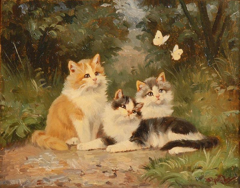 3 Kätzchen mit Schmetterlingen