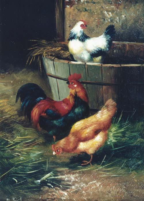 Drei Hühner mit Holzbottich im Stall