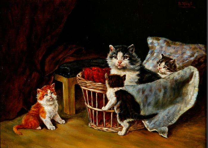 Katze mit drei Jungen
