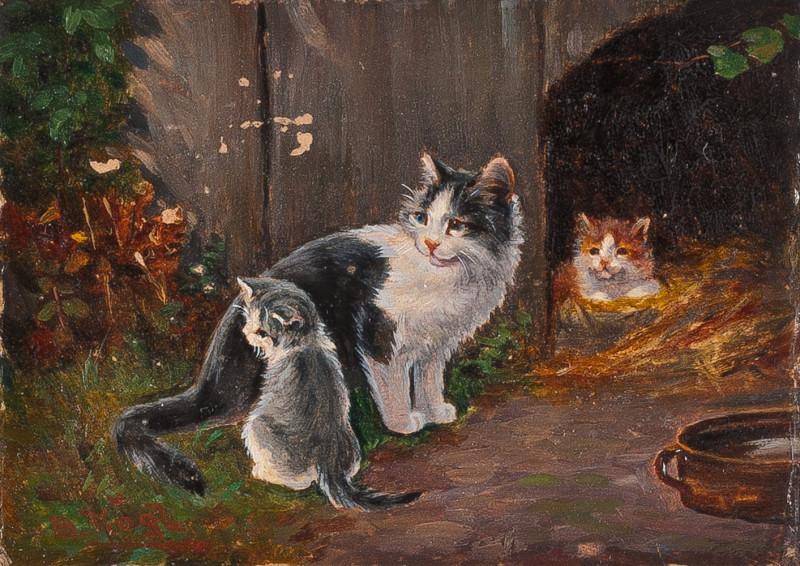 Katzenmutter mit zwei Kätzchen