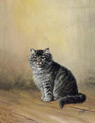 Portrait eines sitzenden Tigerkätzchens