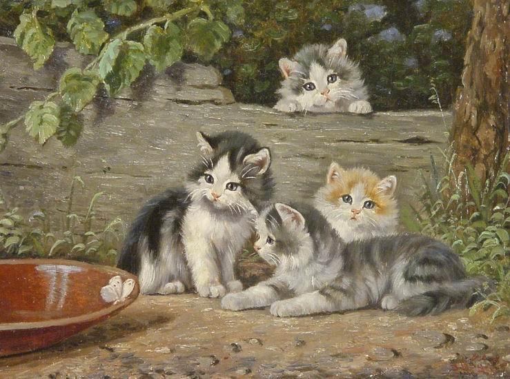Vier kleine Kätzchen