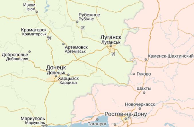 Карта Юго-Востока Украины