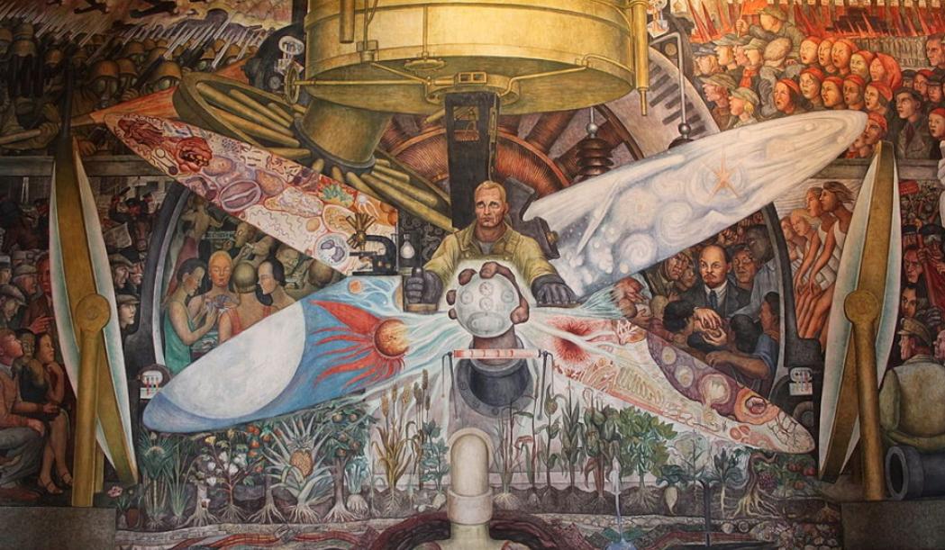 Монументальная фреска, созданная Диего Ривера для Рокфеллеровского центра в Нью-Йорке, 1933