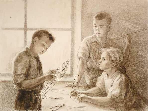 Анна Казимировна Боровская. Юные авиамоделисты, 1939.