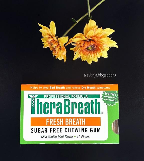 TheraBreath, Свежее дыхание, Жевательная резинка без сахара со вкусом мягкой ванили и мяты