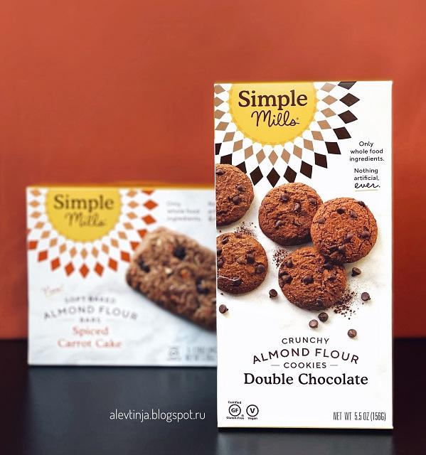 Simple Mills, Не содержит глютен, хрустящее печенье, двойной шоколад