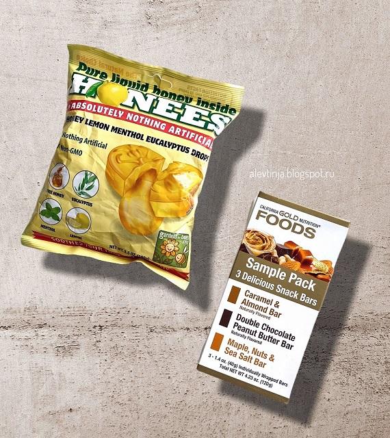 Леденцы от кашля от Honees и Упаковка со снек-батончиками от California Gold Nutrition