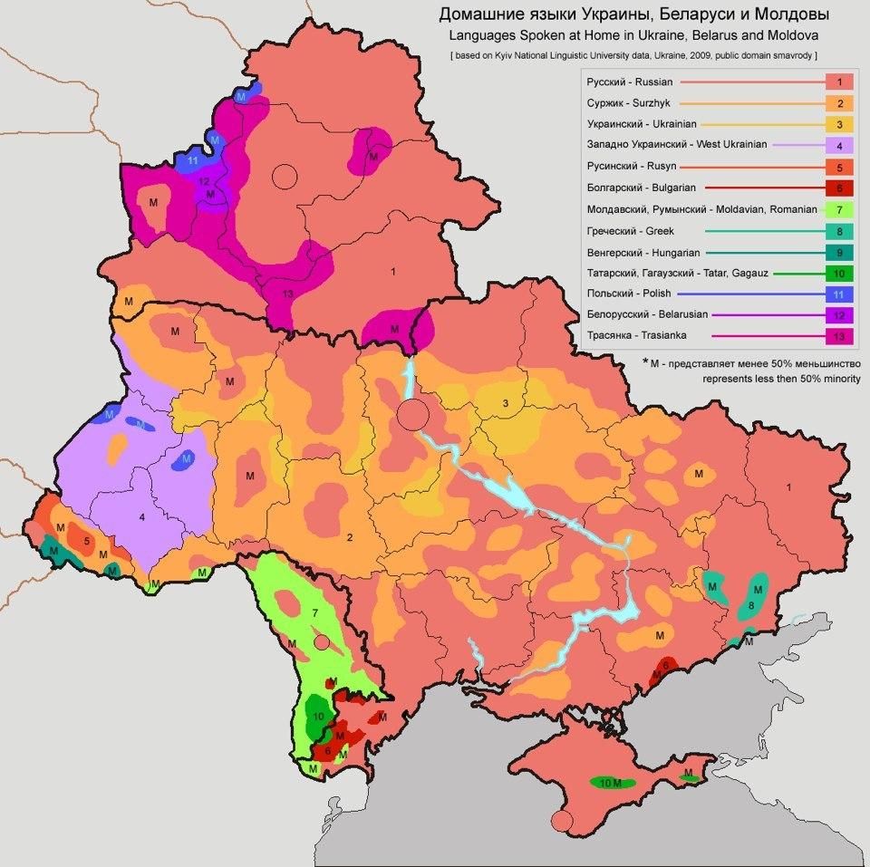 Украина-Белоруссия-Молдавия-лингвистическая-карта
