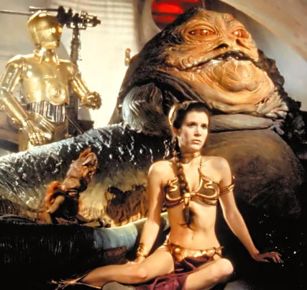Jabba, Leia, 3PO, and Salacious