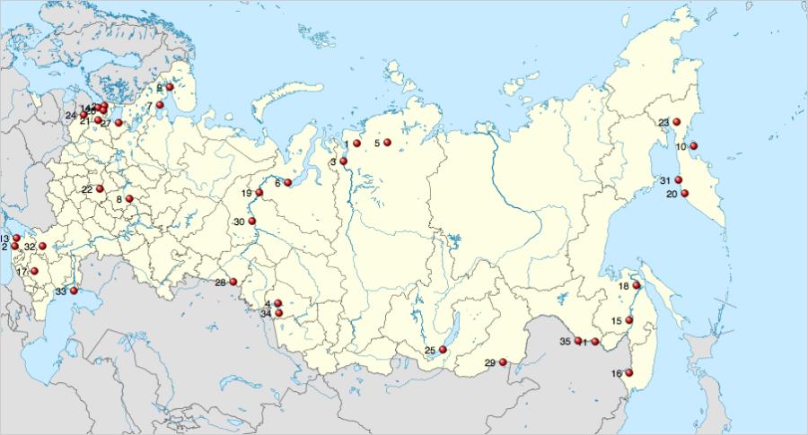 Карта из Википедии. Водно-болотные угодья России.
