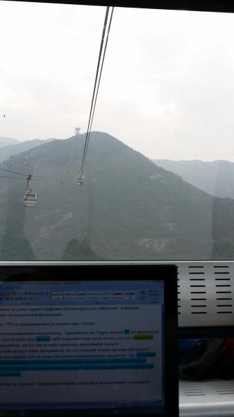 Моё рабочее место - вагончик канатной дороги на Нон Пин к статуе сидящего Будды