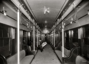 Under the Hudson River circa 1908. Interior of car, N.Y.-N.J. Tunnel