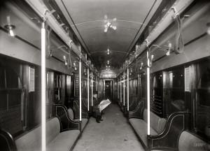 Under the Hudson River circa 1908. Interior of car, N.Y.-N.J. Tunnel