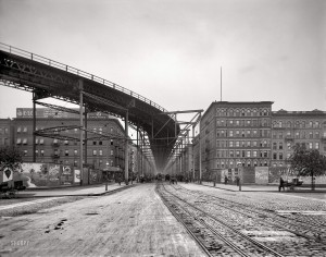 1905 год. Угол 8-й Авеню и 110-й Стрит и эстакада Elevated Railway