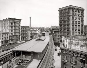 Нью-Йорк 1905 год. Станция Elevated Railway у Chatham Square - на перекрестке 7 улиц