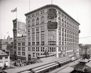 Магазин The 14th St. Store и станция Elevated Railway на углу 6-й Авеню и 14-й Стрит - фото 1906 года