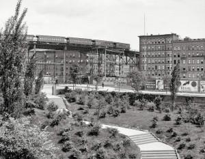 Фото 1905 года. Линии Elevated Railway над Морнингсайд-Парком