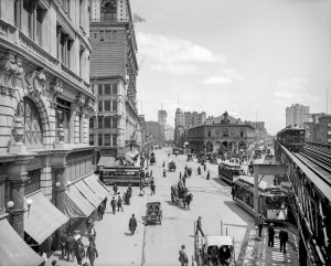 Circa 1903. Herald Square, New York. With Times Square in the distance, and the New York Times building going up