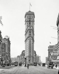 Manhattan circa 1908. New York Times building. Now playing at the Astor  - Paid in Full