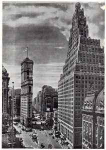 Times Square looking southwest from Loews State Theater's Building show the Times Tower and Paramount Building. March 1927