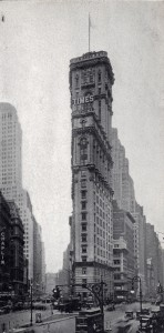 25-story New York Times Tower (1904) and the new 40-story Continental Building (1931) on the left, at background. July 1931