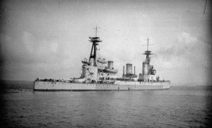 HMS INDEFATIGABLE underway in coastal waters just before the Battle of Jutland