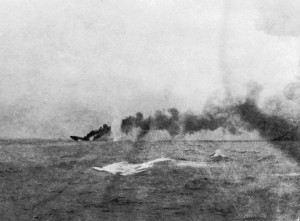Indefatigable sinking after being struck by shells from Von der Tann