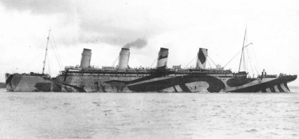 HMT Olympic in dazzle camouflage while in service as a troopship during World War I