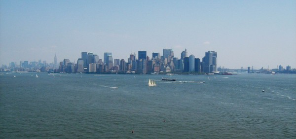 New York City as seen from the Statue of Liberty circa 2009