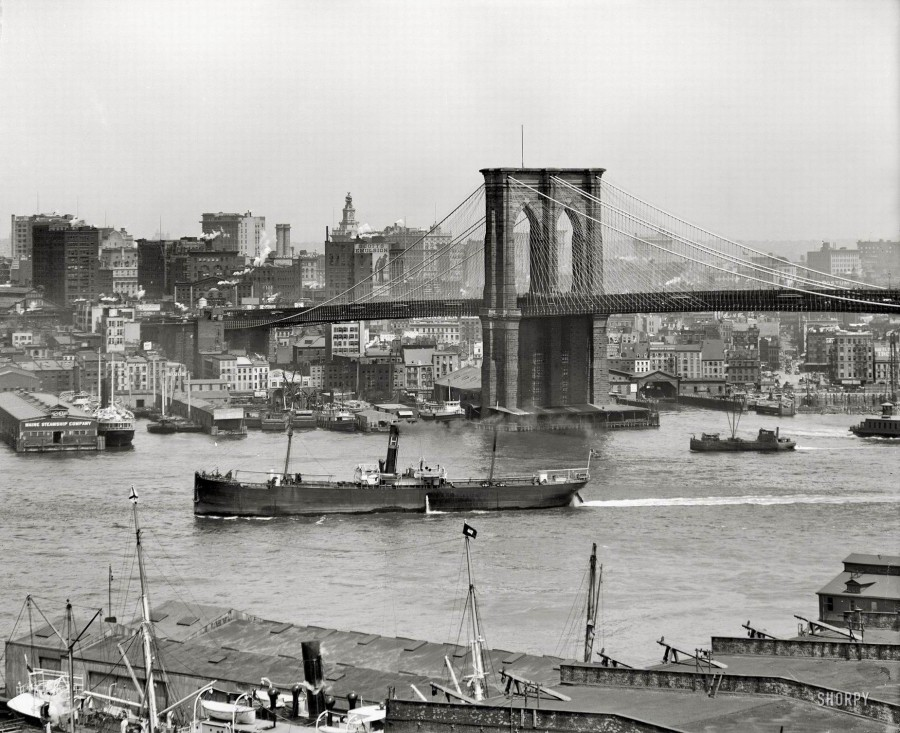 New York circa 1908. Brooklyn Bridge and Manhattan skyline