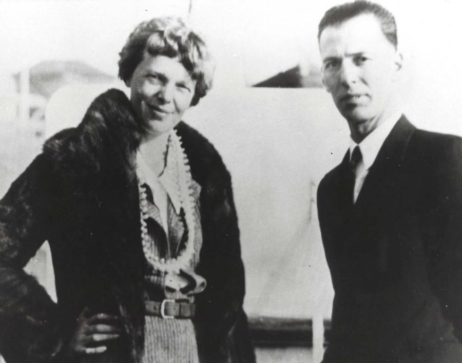 Amelia Earhart and her mechanic Ernie Tissot, 1935 at Wheeler Field, Oahu