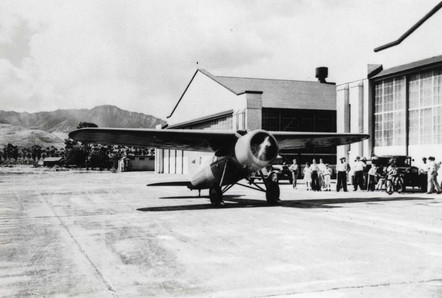 Amelia Earhart's Lockheed Vega at Wheeler Field, Oahu, January 8, 1935