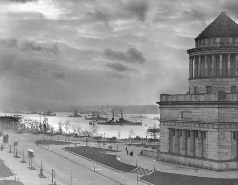 U.S. Navy Battleships sail past Grant's Tomb in Manhattan during World War I