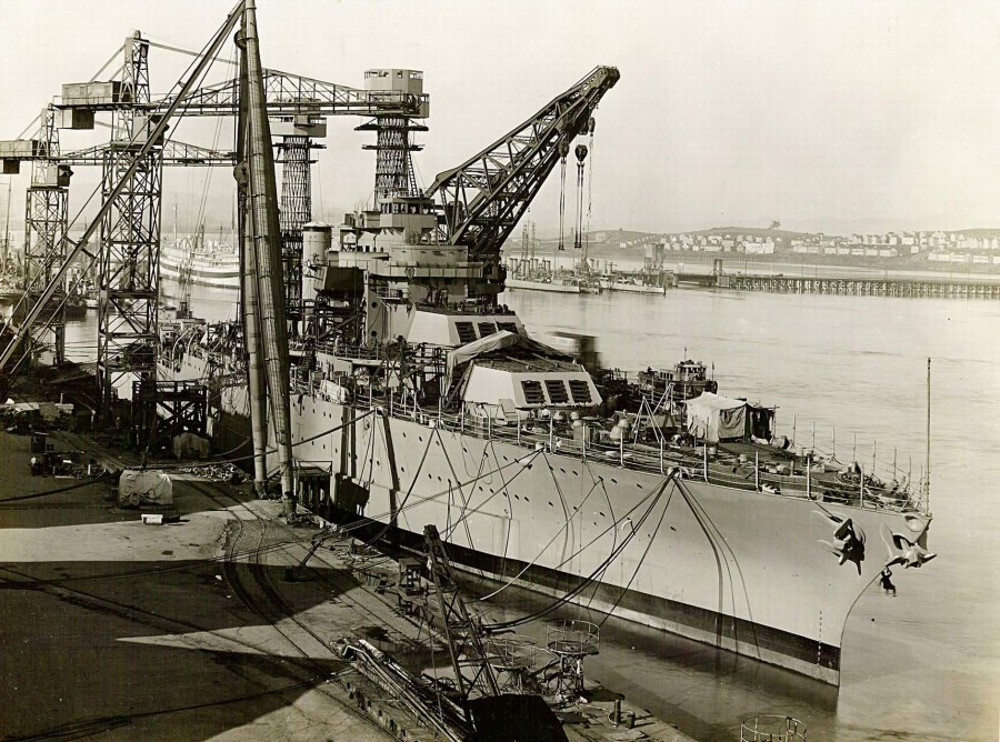 USS California (BB-44) fitting out at the Mare Island Navy Yard, California, 1st of April 1921