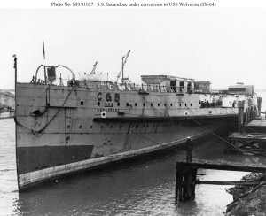 S.S. Seeandbee under conversion to USS Wolverine (IX-64) at Buffalo, New York, in early 1942