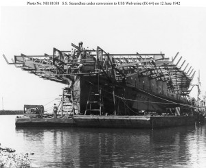 S.S. Seeandbee under conversion to USS Wolverine (IX-64) at Buffalo, New York, 12 June 1942