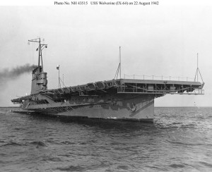 USS Wolverine (IX-64) shown on 22 August 1942 soon after her commissioning at Chicago, Ill