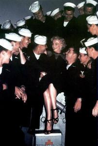 MM visiting the USS Benham (DD-796) 1951 photo by John Florea