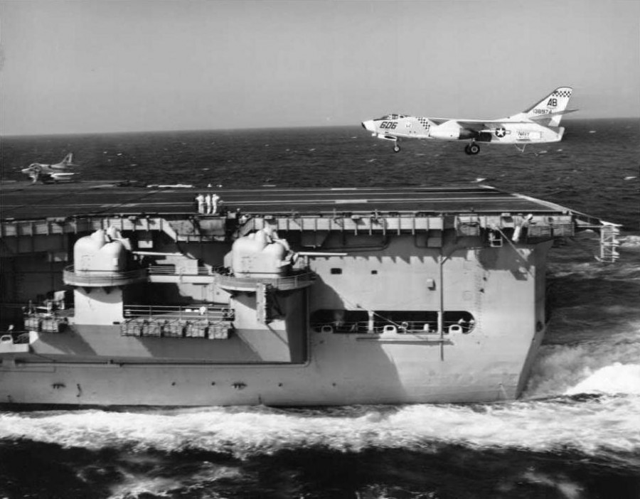 A-3B Skywarrior BuNo 138974 assigned to VAH-11 Checkertails goes for 3rd wire on USS Independence, probably in the second half of 1964