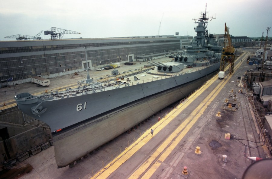 USS Iowa (BB-61) in Dry dock Number 4 at Norfolk Naval Shipyard-Portsmouth - May 1 1985