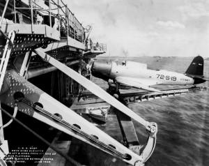 USS Wasp (CV-7) - experimental deck edge elevator - SB2U - 1940 - 1a