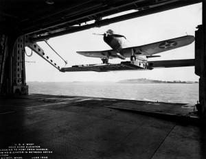 USS Wasp (CV-7) - experimental deck edge elevator - SB2U - 1940 - 2