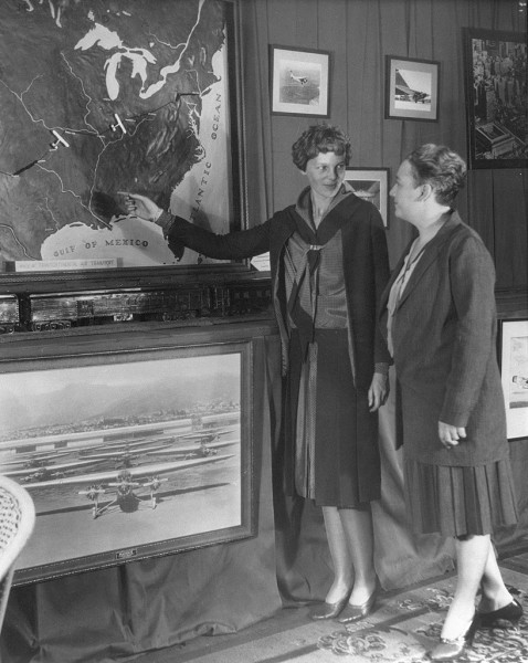 Amelia Earhart and Helene Maddux at Grand Central Air Terminal