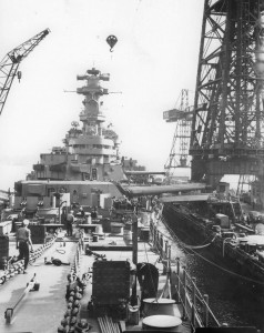 New Jersey (BB-62) fitting out at the Philadephia Navy Yard, late summer 1943